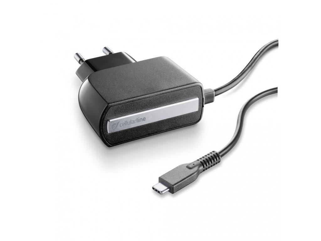 Cestovní nabíječka CellularLine s konektorem USB-C, 2,1A/5V, černá
