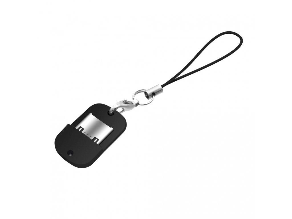 Miniaturní microUSB OTG adaptér FIXED pro mobilní telefony a tablety s pouzdrem, USB 2.0, černý