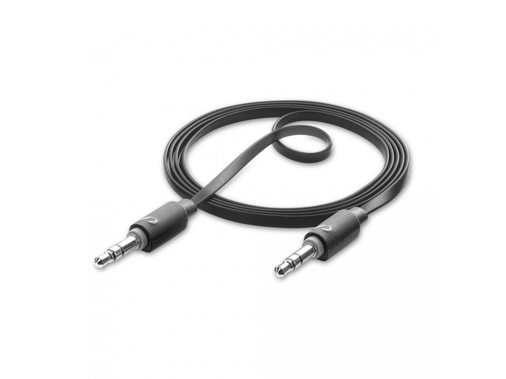 Audio kabel CELLULARLINE AUX AUDIO, AQL® certifikace, plochý, 2 x 3,5mm jack, černý
