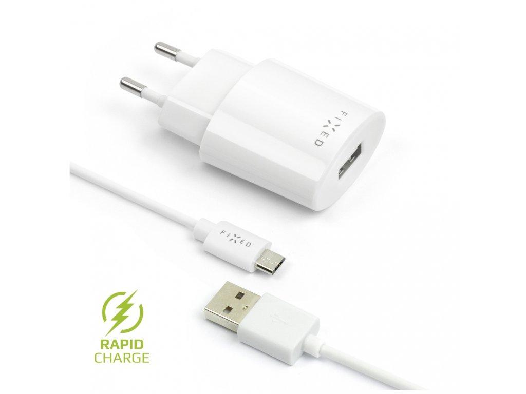 Set síťové nabíječky FIXED s USB výstupem a USB/micro USB kabelu, 1 metr, 12W, bílá