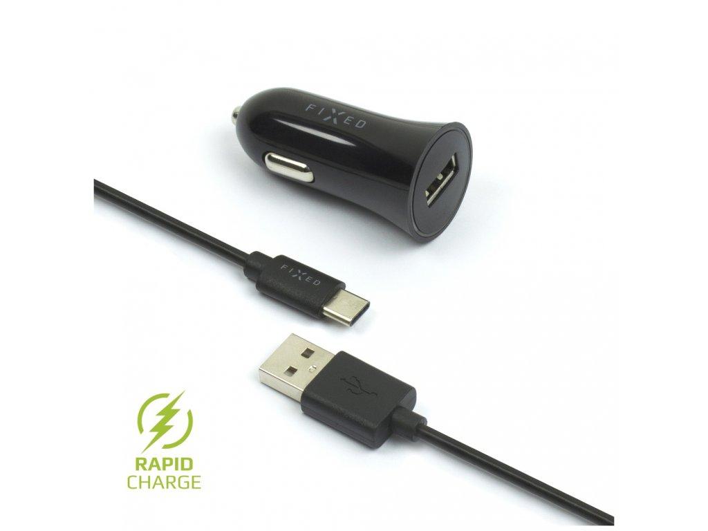 Set autonabíječky FIXED s USB výstupem a USB/USB-C kabelu, 1 metr, 12W, černá