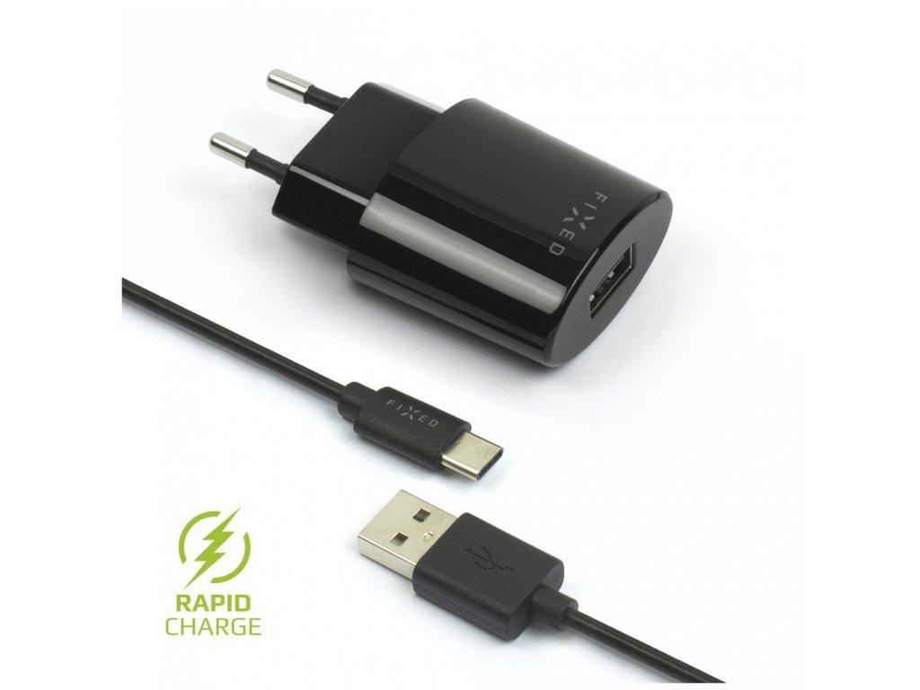 Set síťové nabíječky FIXED s USB výstupem a USB/USB-C kabelu, 1 metr, 12W, černá