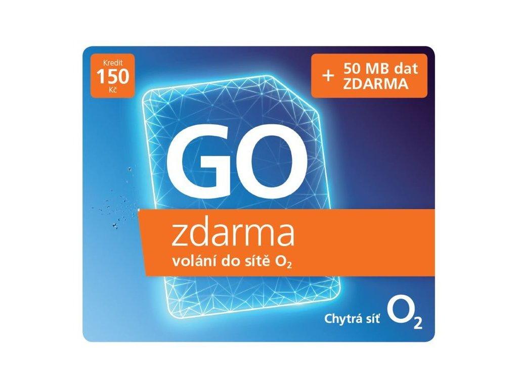 Předplacená SIM karta O2 s kreditem 150 Kč, tarif neomezené volání za 0 Kč do sítě O2