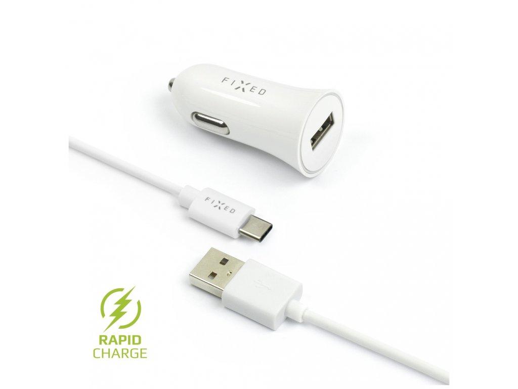 Set autonabíječky FIXED s USB výstupem a USB/USB-C kabelu, 1 metr, 12W, bílá