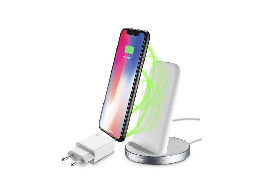 Stojánek pro bezrátové nabíjení Cellularline Wireless Fast Charger Stand + Fast Charge adaptér 10W, Qi standard, bílý