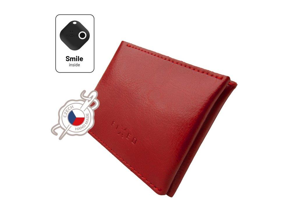 Kožená peněženka Smile Wallet se smart trackerem FIXED Smile s motion senzorem, červená