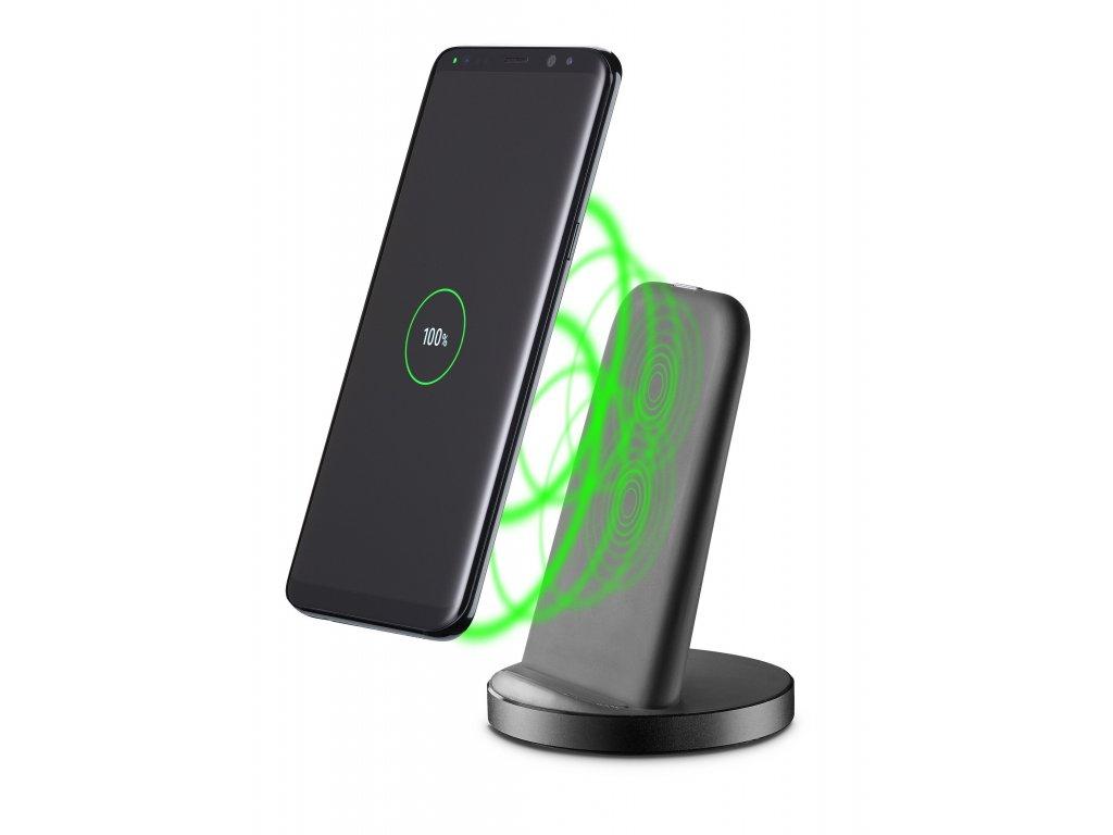 Stojánek pro bezdrátové nabíjení Cellularline WIRELESS FAST CHARGER STAND S USB-C, rychlé nabíjení, Qi standard, černý