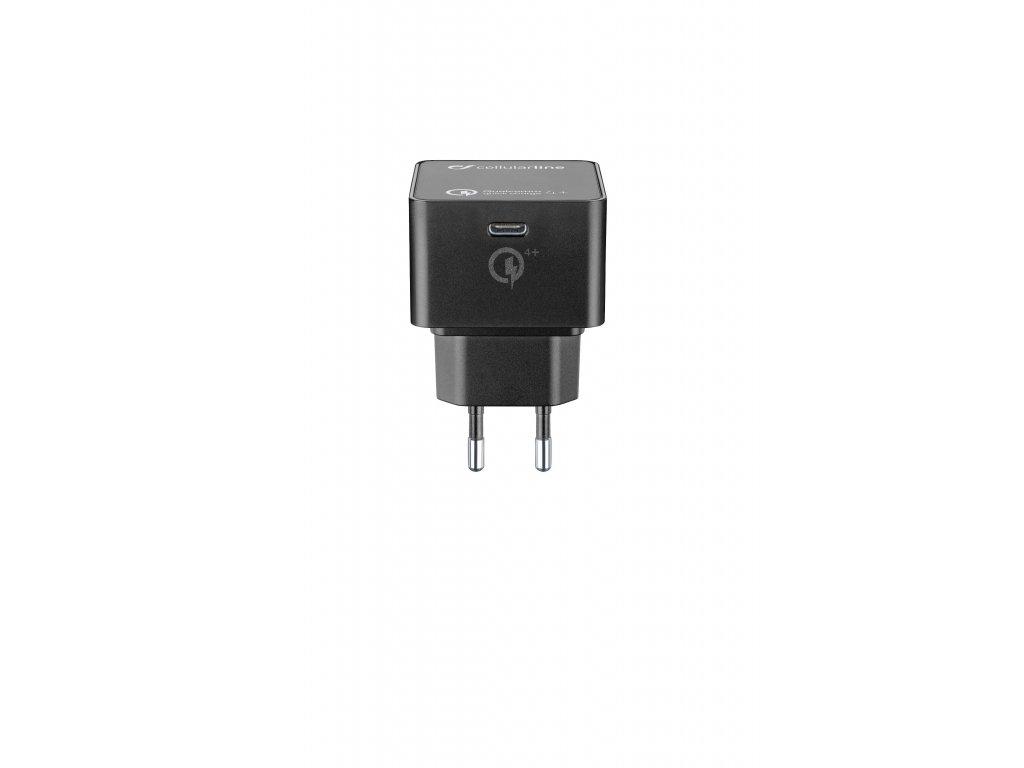 USB-C síťová nabíječka Cellularline Power Delivery (PD), max. 30 W, Qualcomm® Quick Charge™ 4+, černá