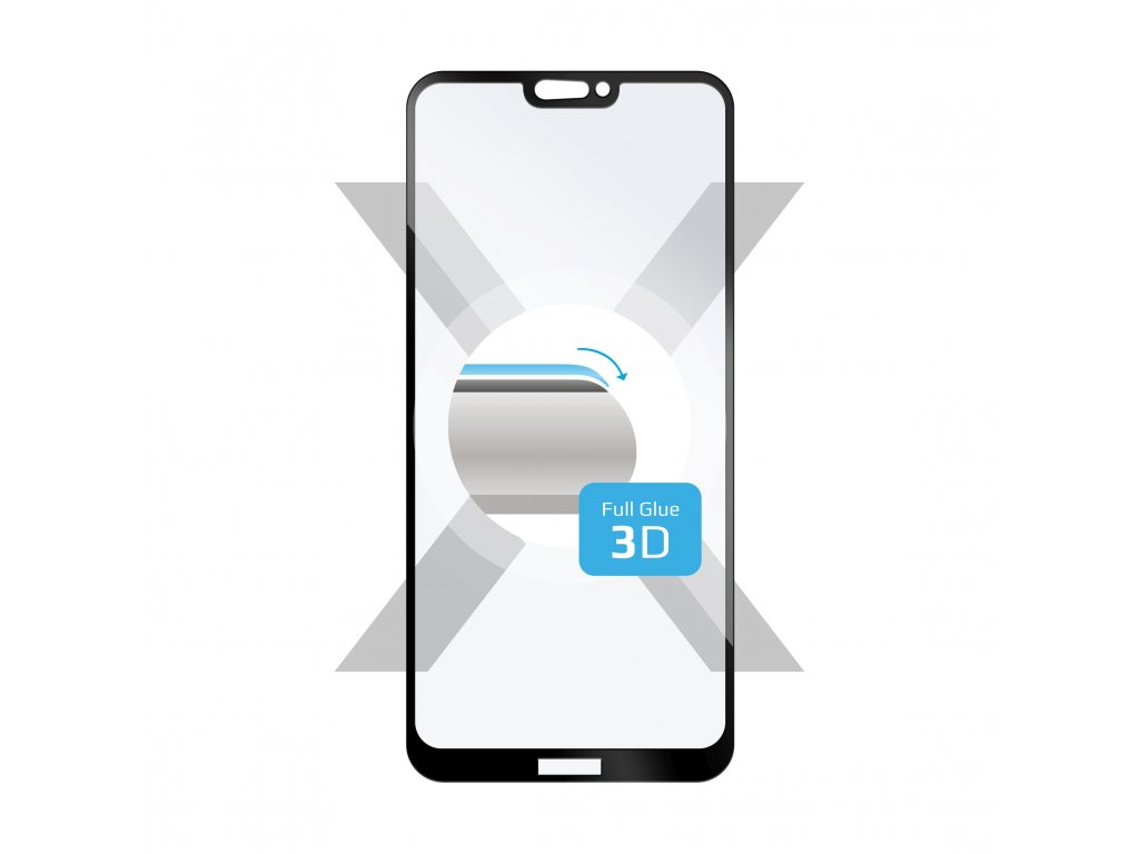 Ochranné tvrzené sklo FIXED 3D Full-Cover pro Huawei P20 Lite, s lepením přes celý displej, černé