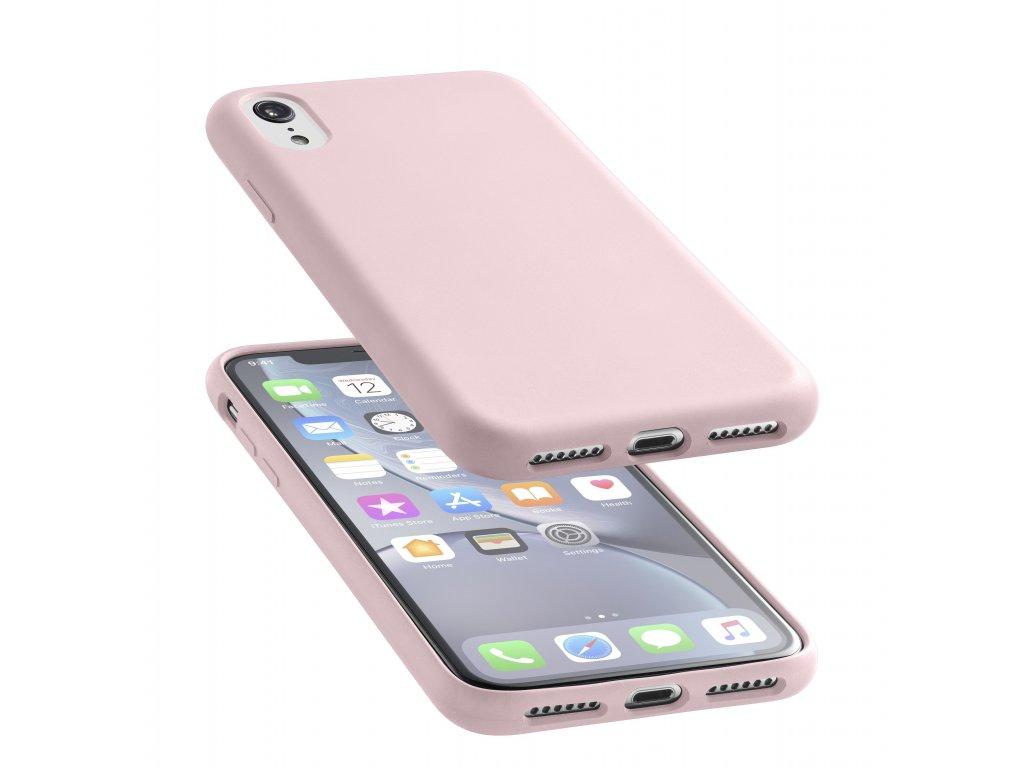 Ochranný silikonový kryt CellularLine SENSATION pro Apple iPhone XR, starorůžový