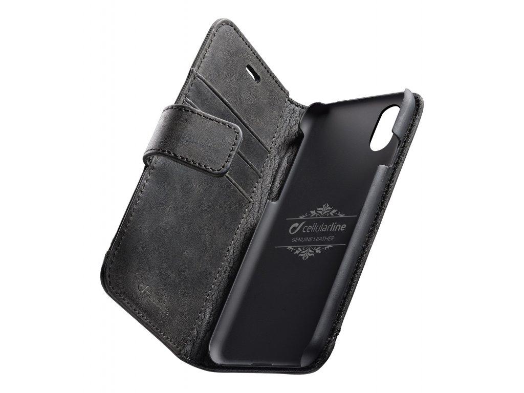 Prémiové kožené pouzdro typu kniha Cellularline Supreme pro Apple iPhone XS Max, černé