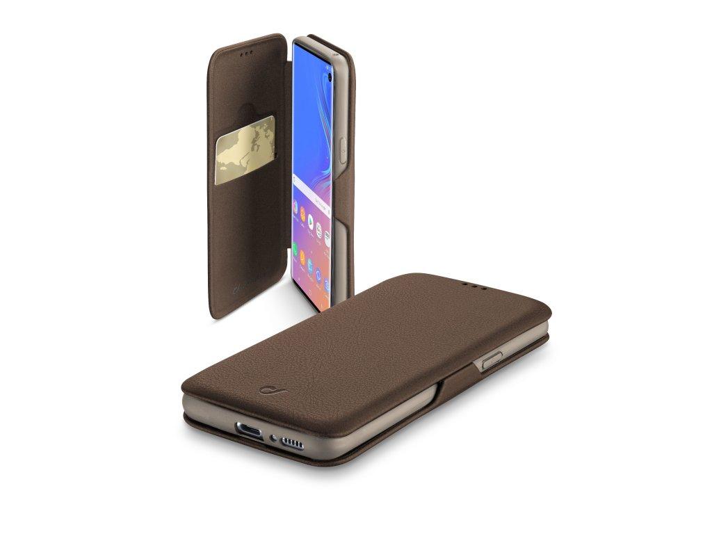 Pouzdro typu kniha CellularLine Book Clutch pro Samsung Galaxy S10, hnědé