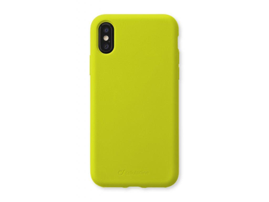 Ochranný silikonový kryt CellularLine SENSATION pro Apple iPhone XS Max, limetkový neon