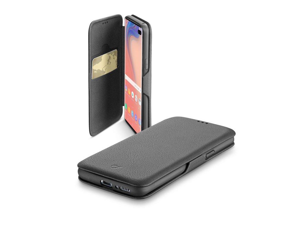 Pouzdro typu kniha CellularLine Book Clutch pro Samsung Galaxy S10+, černé