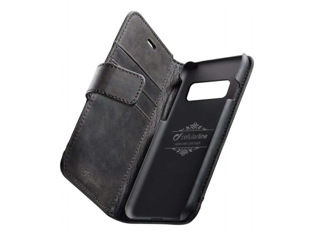 Prémiové kožené pouzdro typu kniha Cellularline Supreme pro Samsung Galaxy S10+, černé