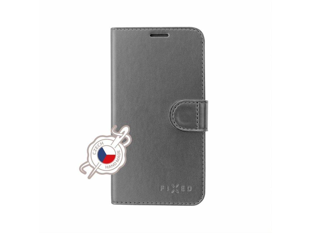 Pouzdro typu kniha FIXED FIT Shine pro Huawei P30, antracitové