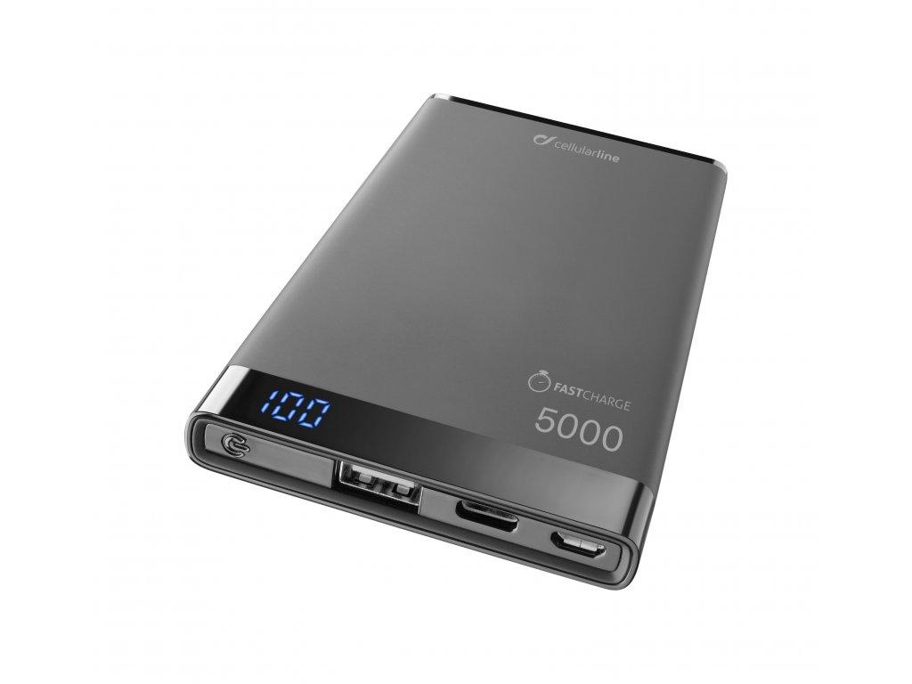 Prémiová powerbanka CellularLine FREEPOWER MANTA S, 5000mAh, USB-C + USB port, černá