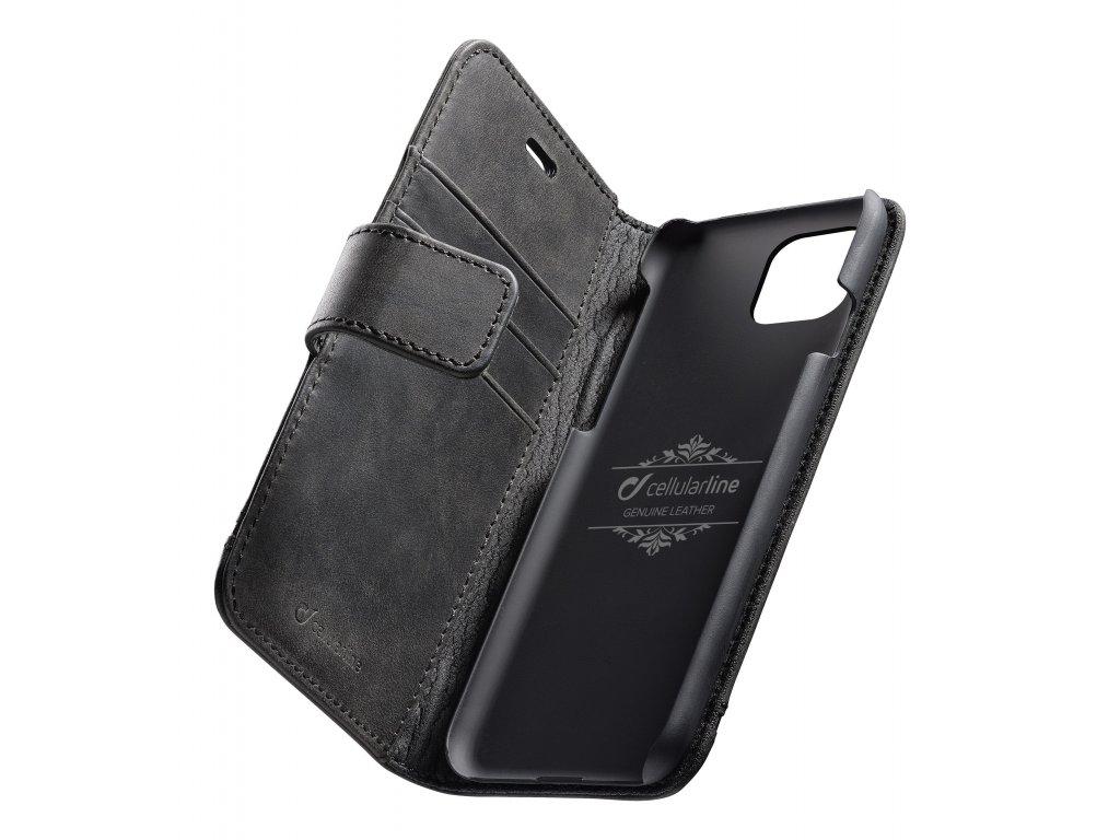 Prémiové kožené pouzdro typu kniha Cellularine Supreme pro Apple iPhone 11 Pro Max, černé