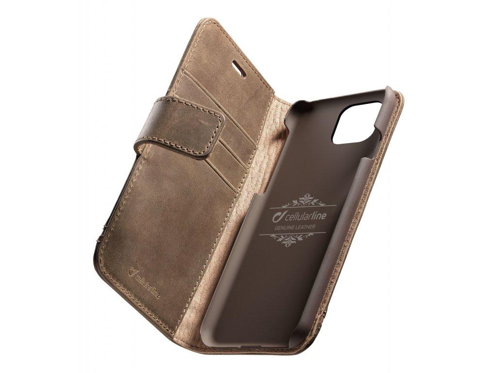 Prémiové kožené pouzdro typu kniha Cellularine Supreme pro Apple iPhone 11 Pro Max, hnědé