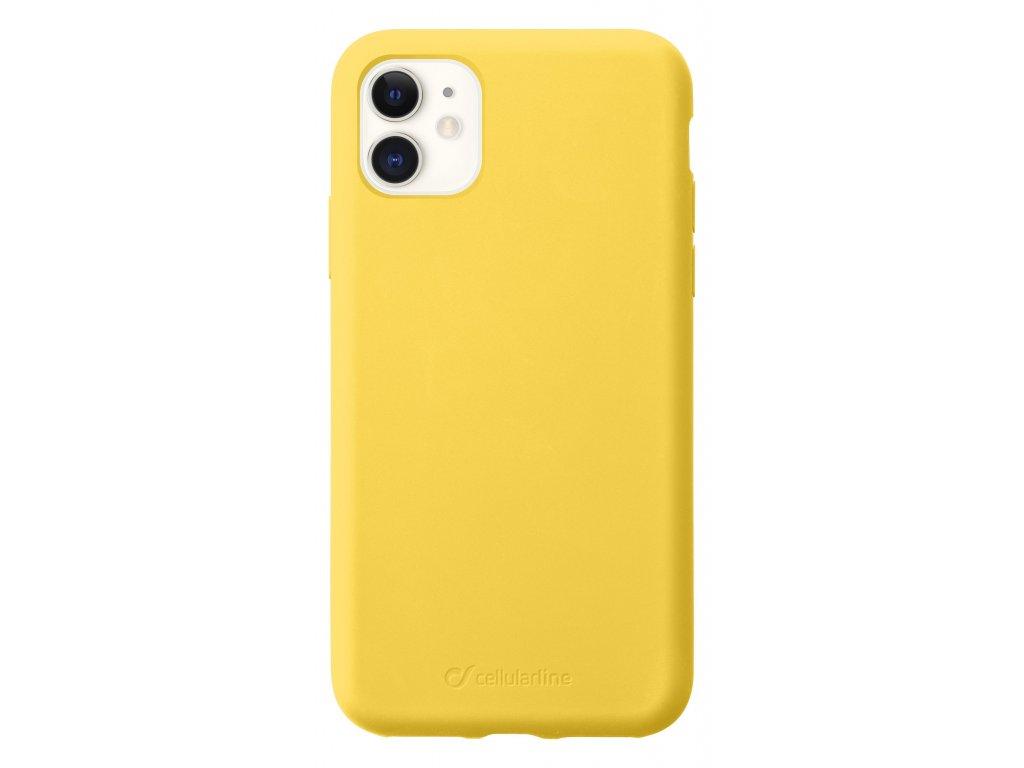 Ochranný silikonový kryt CellularLine SENSATION pro Apple iPhone 11, žlutý