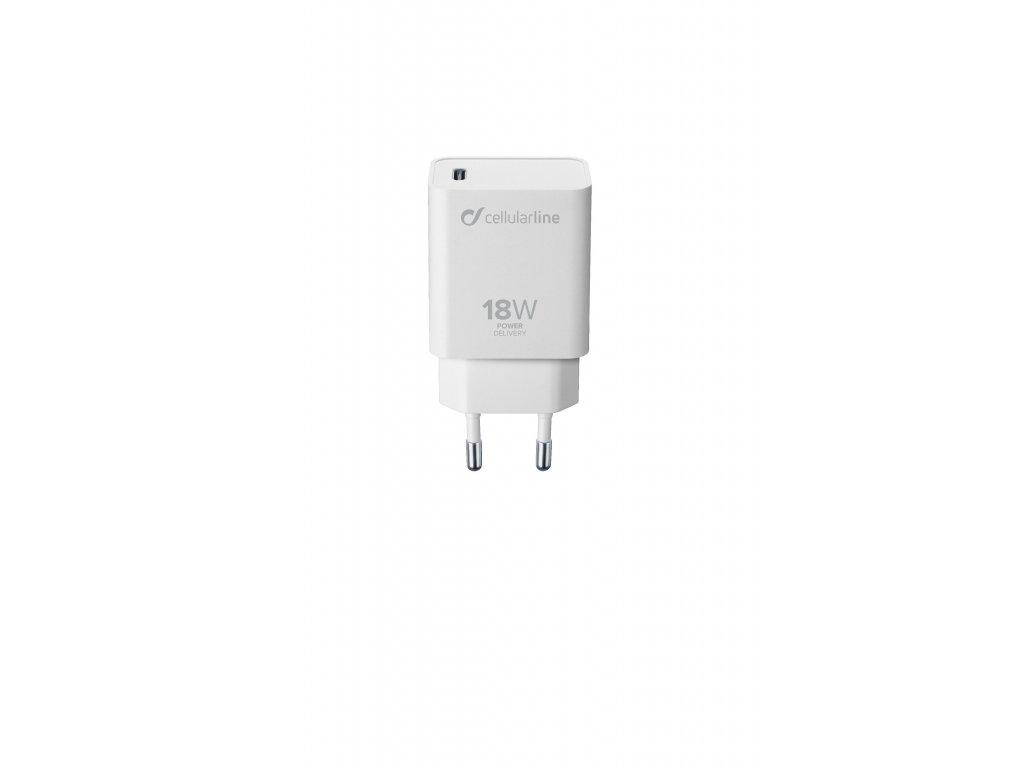 Síťová nabíječka Cellularline s USB-C konektorem, Power Delivery (PD), 18 W, bílý