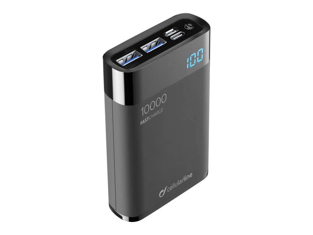Kompaktní powerbanka Cellularline FreePower Manta HD 10000mAh, Smartphone Detect, USB-C + 2xUSB port, černá