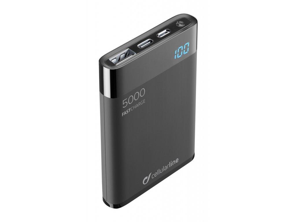 Kompaktní powerbanka Cellularline FreePower Manta HD, 5000 mAh, USB-C + USB port, rychlé nabíjení, černá