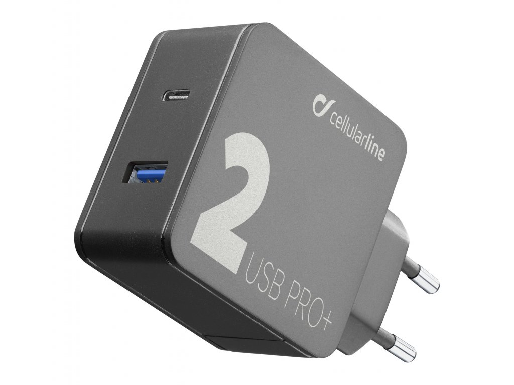 Síťová nabíječka Cellularline Multipower 2 PRO+ s technologií Smartphone Detect, USB-C + USB port, 36W, černá