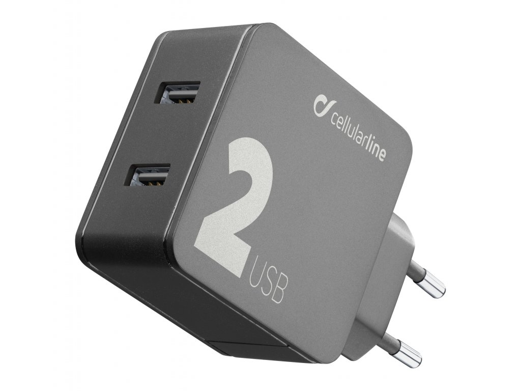 Síťová nabíječka Cellularline Multipower 2 s technologií Smartphone detect, 2 x USB port, 24W, černá
