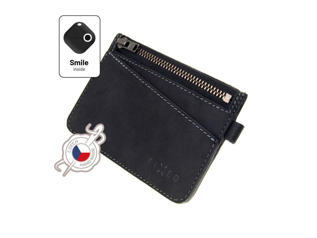 Kožená peněženka FIXED Smile Coins se smart trackerem FIXED Smile Motion, černá