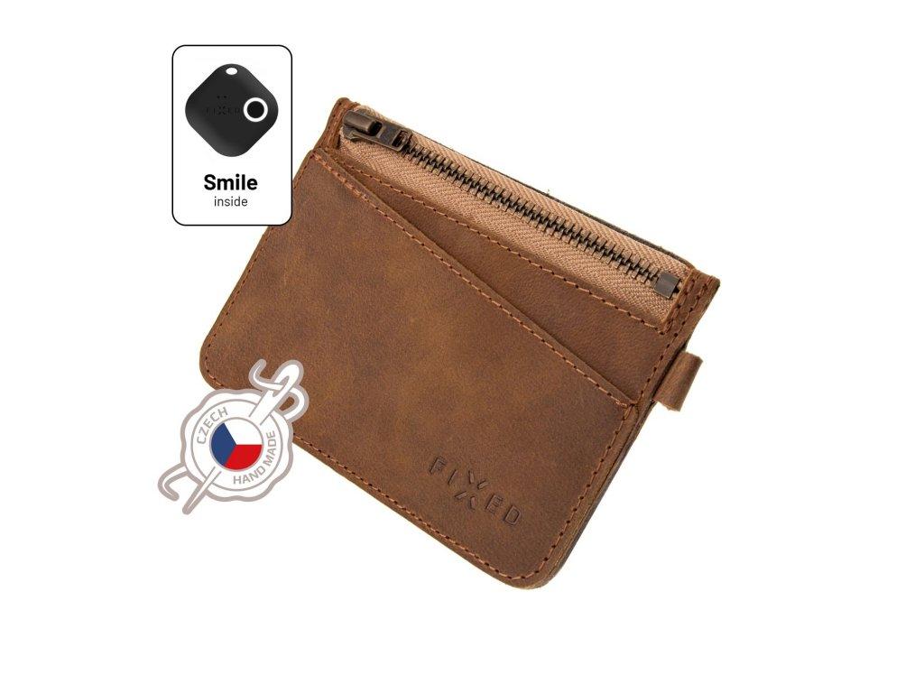 Kožená peněženka FIXED Smile Coins se smart trackerem FIXED Smile Motion, hnědá