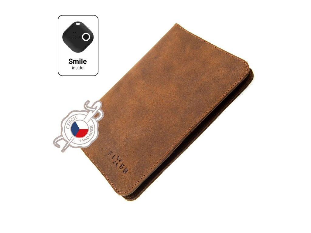 Kožená peněženka FIXED Smile Passport se smart trackerem FIXED Smile Motion, velikost cestovního pasu, hnědá