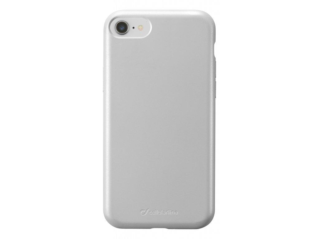 Ochranný silikonový kryt Cellularline Sensation Metallic pro Apple iPhone 6/7/8/SE (2020), stříbrný