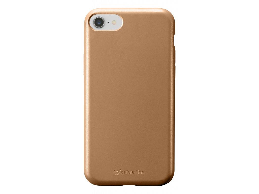 Ochranný silikonový kryt Cellularline Sensation Metallic pro Apple iPhone 6/7/8/SE (2020), zlatý