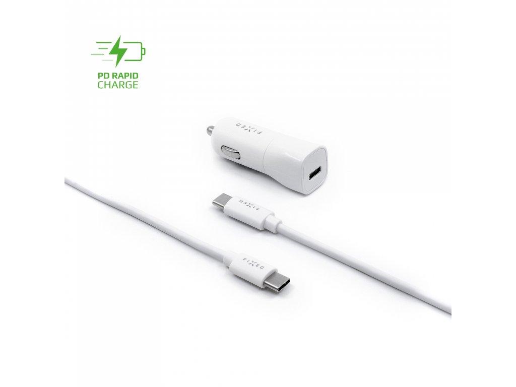 Set autonabíječky FIXED s USB-C výstupem a USB-C/USB-C kabelu, podpora PD, 1 metr, 18W, bílý