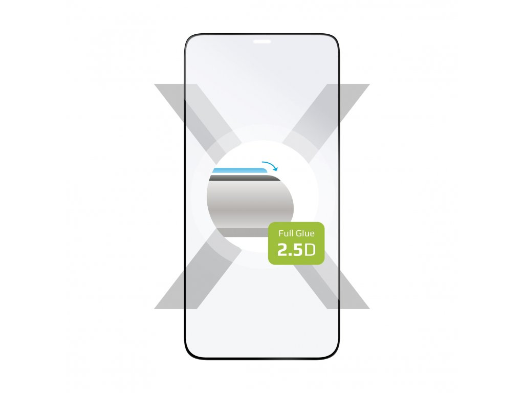 Ochranné tvrzené sklo FIXED Full-Cover pro Apple iPhone 12 Mini, lepení přes celý displej, černé