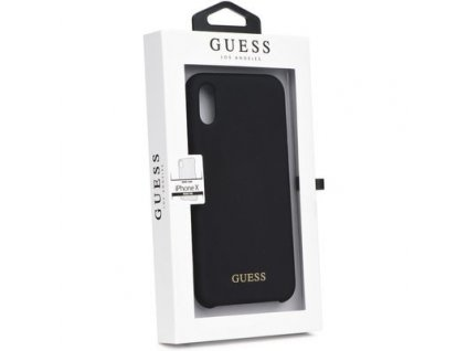 Guess Silicone Cover Gold Logo Black pro iPhone X/XS