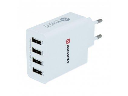 SWISSTEN SÍŤOVÝ ADAPTÉR SMART IC 4x USB 5A POWER BÍLÝ