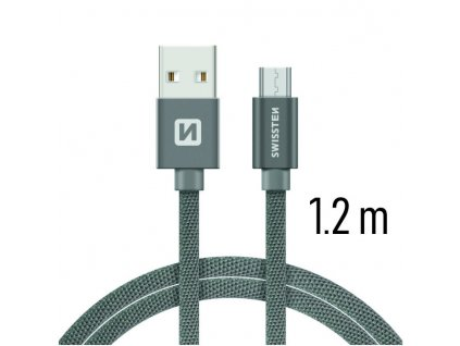 DATOVÝ KABEL SWISSTEN TEXTILE USB / MICRO USB 1,2 M ŠEDÝ