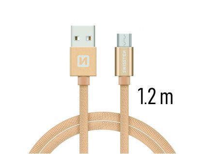 DATOVÝ KABEL SWISSTEN TEXTILE USB / MICRO USB 1,2 M ZLATÝ