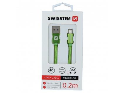 DATOVÝ KABEL SWISSTEN TEXTILE USB / MICRO USB 0,2 M ZELENÝ