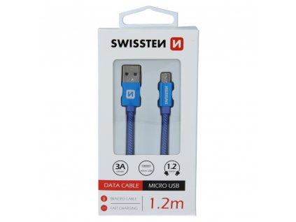 DATOVÝ KABEL SWISSTEN TEXTILE USB / MICRO USB 1,2 M MODRÝ