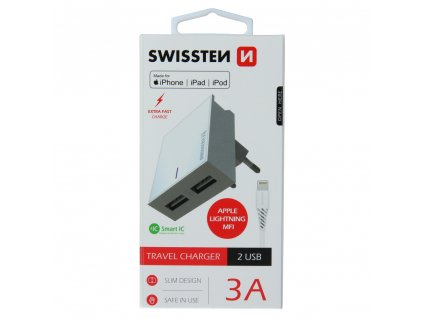 SWISSTEN SÍŤOVÝ ADAPTÉR SMART IC 2x USB 3A POWER + DATOVÝ KABEL USB / LIGHTNING MFi 1,2 M BÍLÝ