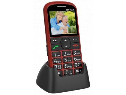 Telefon CPA Halo 11 Senior červený s nabíjecím stojánkem