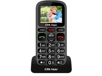 Telefon CPA Halo 16 Senior černý s nabíjecím stojánkem