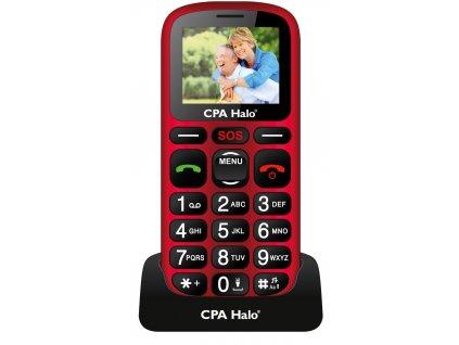 Telefon CPA Halo 16 Senior červený s nabíjecím stojánkem