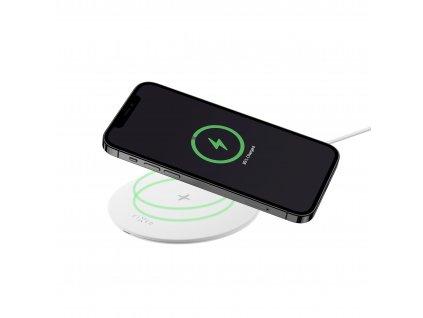 Podložka pro rychlé bezdrátové nabíjení telefonu FIXED SlimPad, 15W, bílá