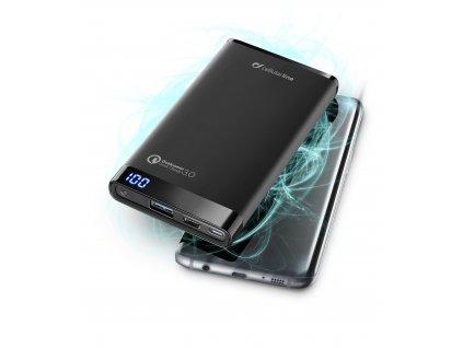 Prémiová powerbanka CellularLine FREEPOWER MANTA PRO+, 8000mAh, USB-C + USB port, Qualcomm® Quick Charge™ 3.0, černá