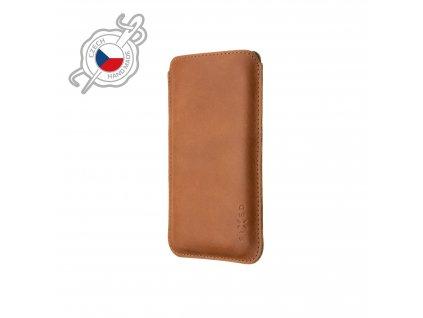 Tenké pouzdro FIXED Slim vyrobené z pravé kůže pro Apple iPhone 12/12 Pro/13/13 Pro, hnědé