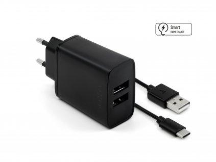 Set síťové nabíječky FIXED s 2xUSB výstupem a USB/USB-C kabelu, 1 metr, 15W Smart Rapid Charge, černá